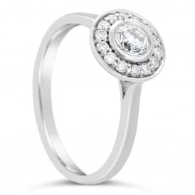 18ct White Gold Round 0.51ct Diamond Cluster Ring