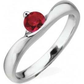 18ct White Gold Ruby Engagement Ring