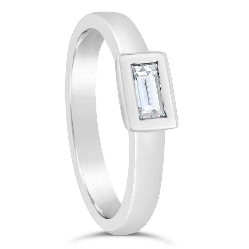18ct White Gold Single Baguette 0 22ct Diamond Engagement Ring