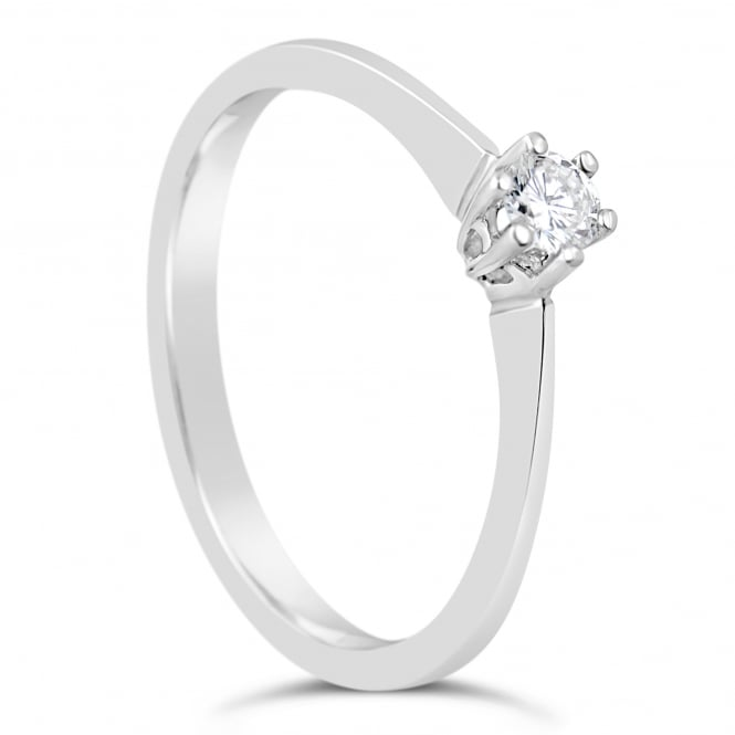 Lance James Engagement 18ct White Gold Solitaire 0.13ct Diamond Ring