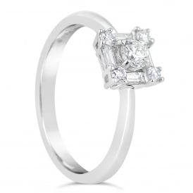 18ct White Gold Square Set Engagement Ring