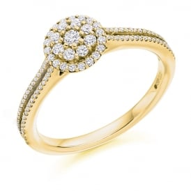 18ct Yellow Gold 0.40ct Micro-Claw Set Diamond Engagement Ring