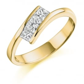 18ct Yellow Gold 0.55ct Three Stone Diamond Trilogy Ring