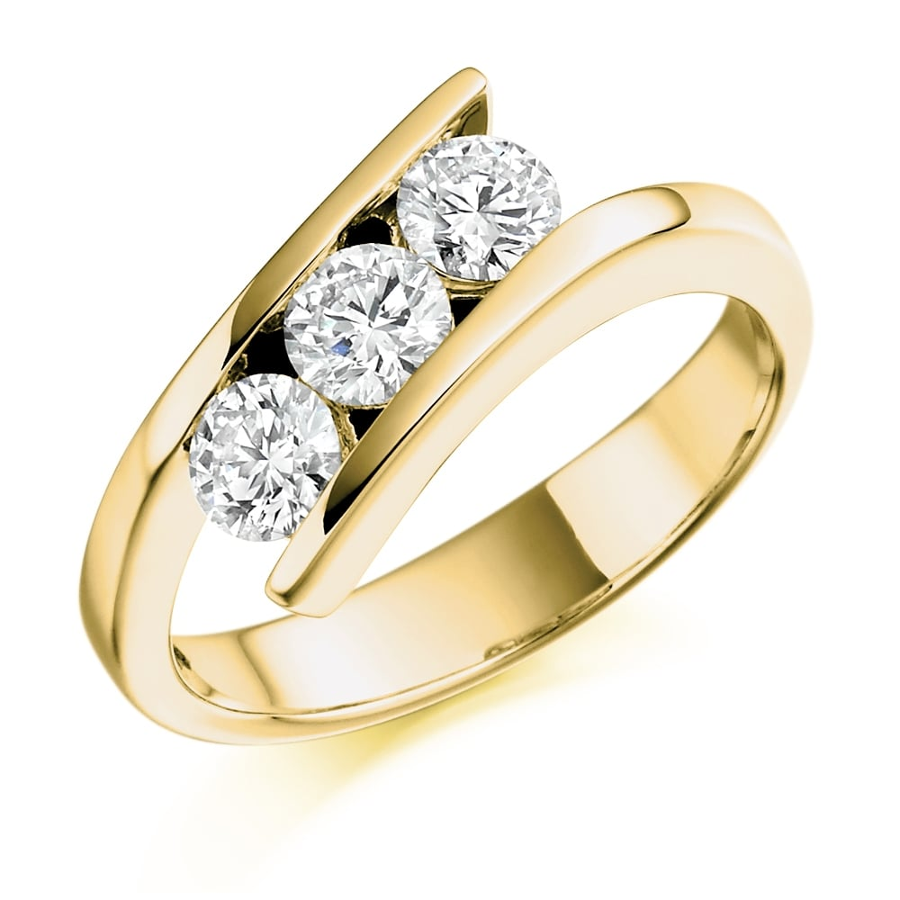 d6413965c712a7 18ct Yellow Gold 0.75ct Three Stone Diamond Ring