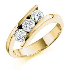 18ct Yellow Gold 0.75ct Three Stone Diamond Ring