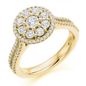 18ct Yellow Gold 1.00ct Diamond Set Halo Engagement Ring