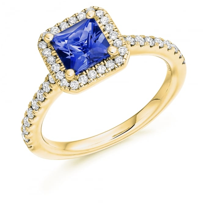 Lance James Engagement 18ct Yellow Gold 1.45ct Tanzanite & Diamond Engagement Ring