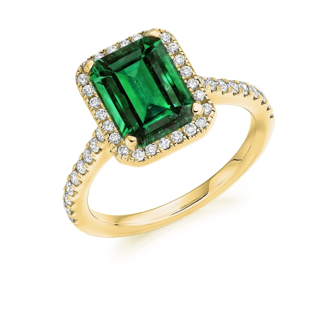 e01945903d49f Lance James Engagement 18ct Yellow Gold 1.90ct Emerald & Diamond Cluster  Engagement Ring