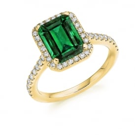 18ct Yellow Gold 1.90ct Emerald & Diamond Cluster Engagement Ring