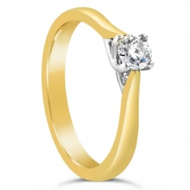 18ct Yellow Gold Brilliant 0.27ct Solitaire Engagement Ring
