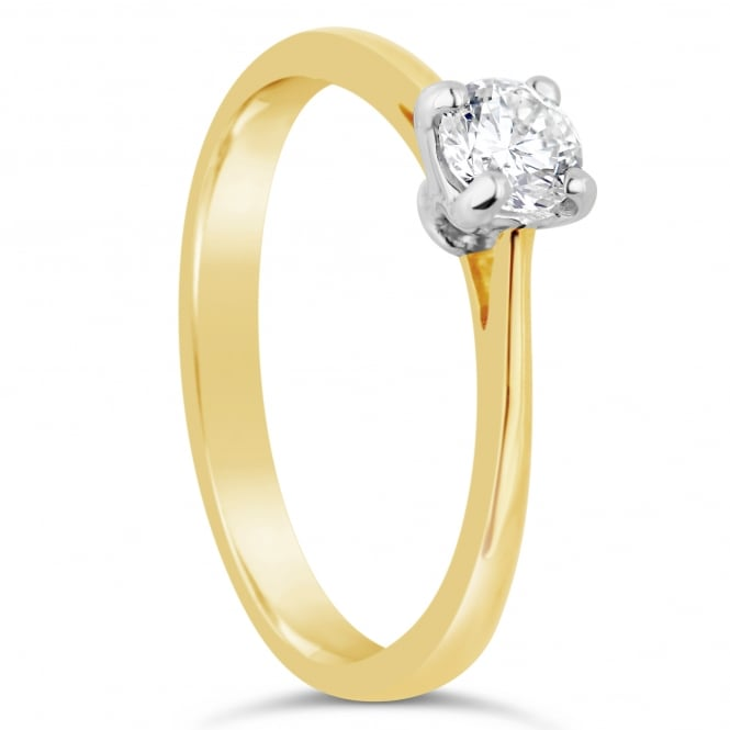 Lance James Engagement 18ct Yellow Gold Brilliant Diamond Solitaire Ring