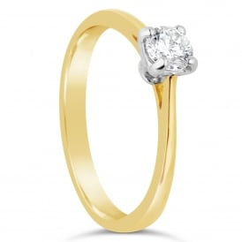 18ct Yellow Gold Brilliant Diamond Solitaire Ring