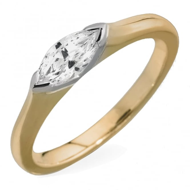 Lance James Engagement 18ct Yellow Gold Marquise Diamond Engagement Ring