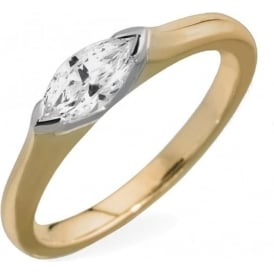18ct Yellow Gold Marquise Diamond Engagement Ring