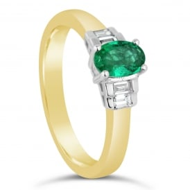 18ct Yellow Gold Oval Emerald & Diamond Engagement Ring