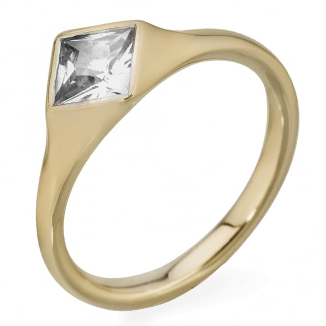 Lance James Engagement 18ct Yellow Gold Princess Cut Diamond Ring