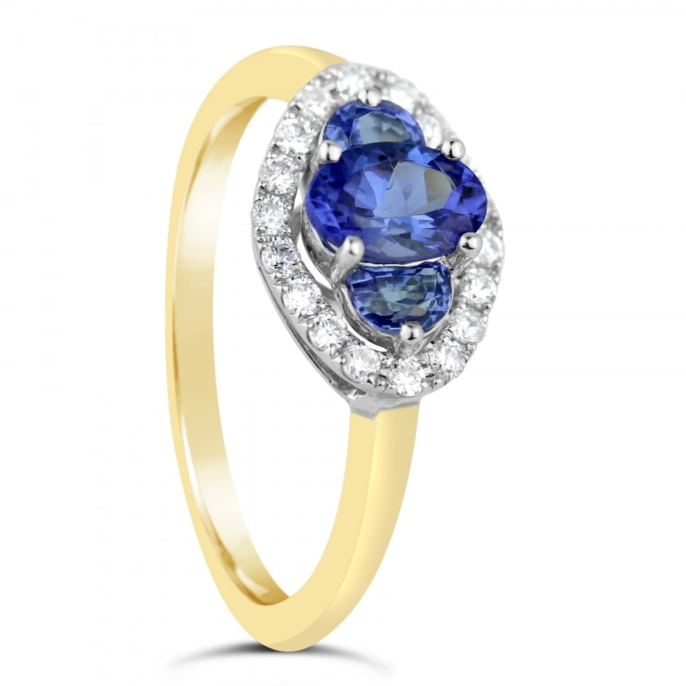 htm halo in filigree with white diamond diamondhalo round detail ctw and tanzanite ring gold engagement rings
