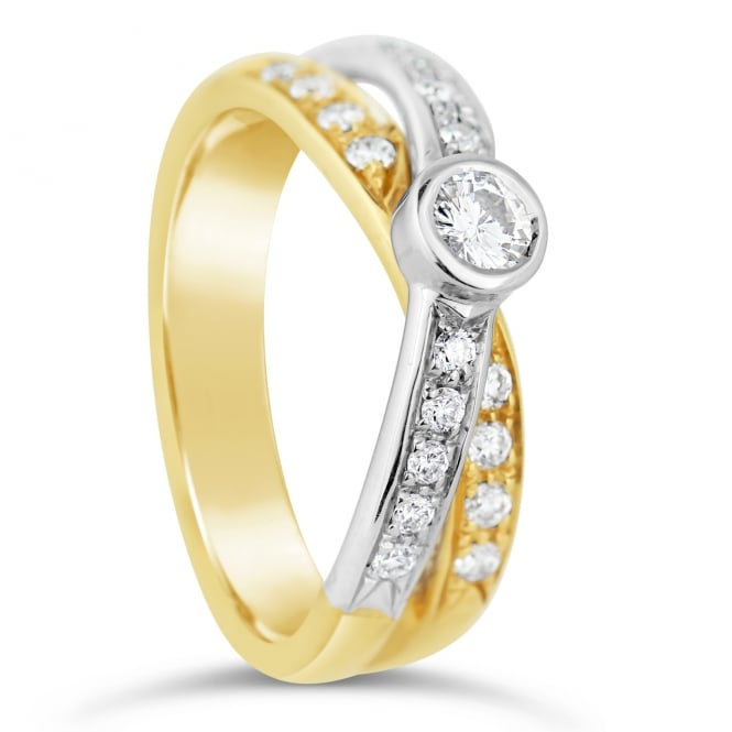 Lance James Engagement 18ct Yellow & White Gold Diamond Twist Fancy Ring