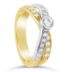 18ct Yellow & White Gold Diamond Twist Fancy Ring