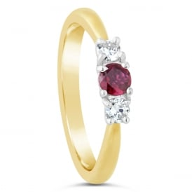 18ct Yellow & White Three Stone Ruby Engagement Ring