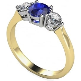 9ct White And Yellow Gold 0.33ct Diamond Sapphire Ring