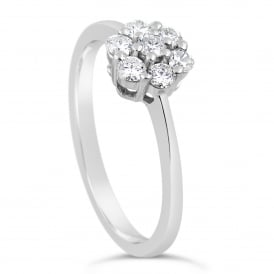9ct White Gold Floral 0.33ct Diamond Cluster Ring