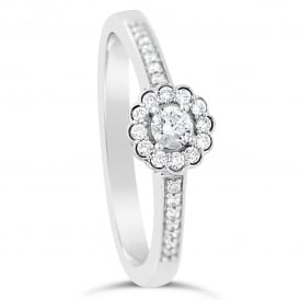9ct White Gold Floral Diamond Cluster Engagement Ring