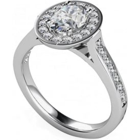 9ct White Gold Oval Diamond Cluster Ring
