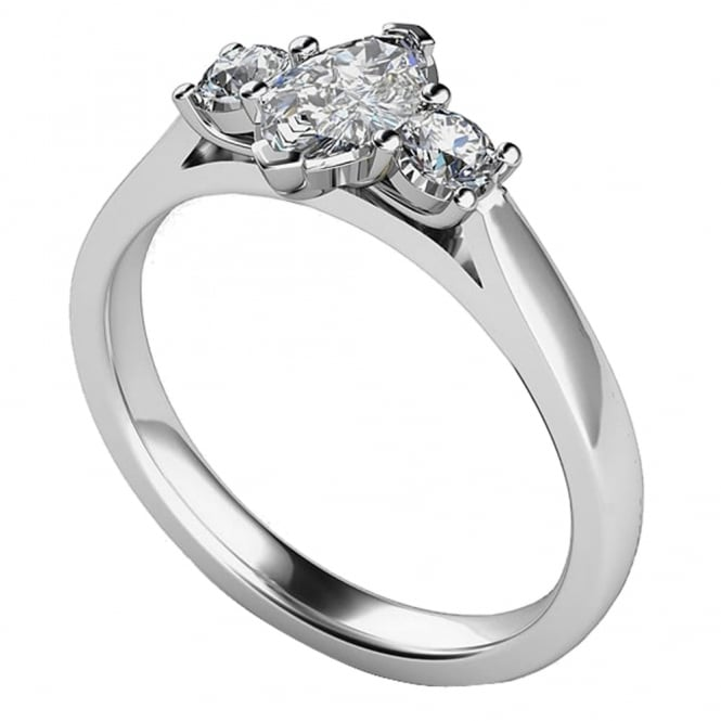 Lance James Engagement 9ct White Gold Three Stone Engagement Ring