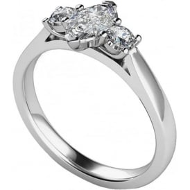 9ct White Gold Three Stone Engagement Ring