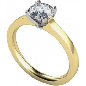 9ct Yellow And White Gold 0.25ct Brilliant Diamond Ring