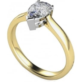 9ct Yellow And White Gold Pear Diamond Ring