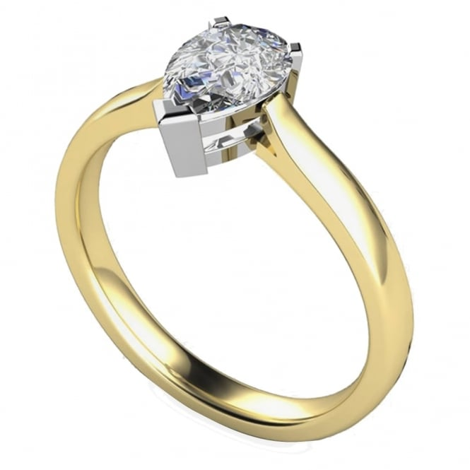 Lance James Engagement 9ct Yellow Gold Pear Diamond Ring