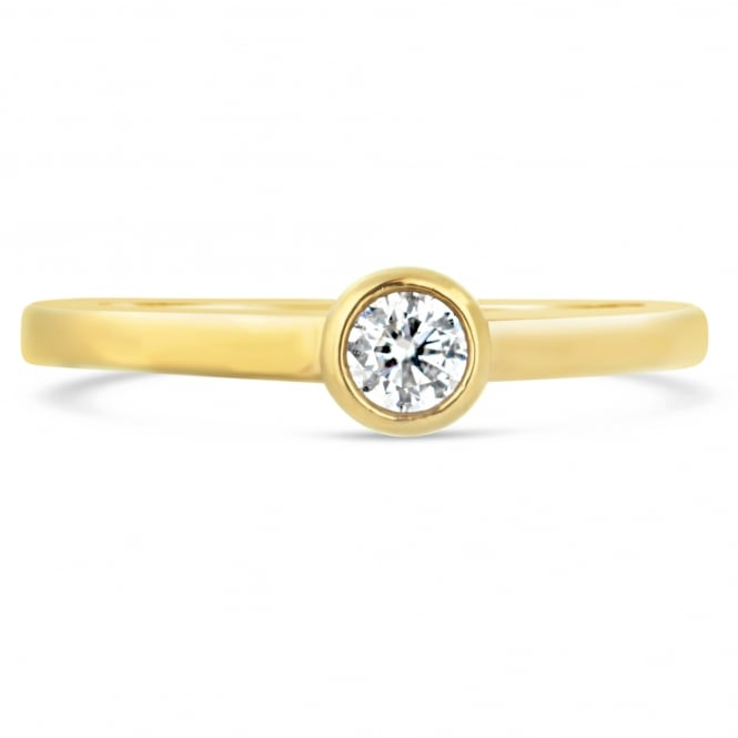 Lance James Engagement 9ct Yellow Gold Rubover Solitaire Ring