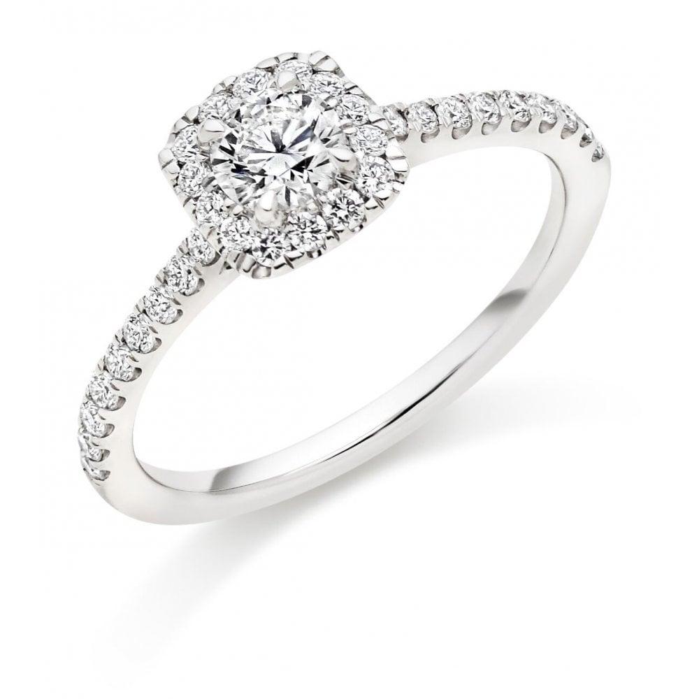 Platinum Engagement Rings Sale Uk: Cushion Halo Diamond Engagement Ring In Platinum