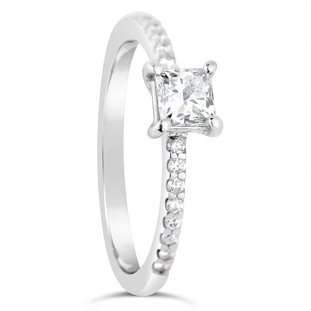 half simple engagement diamond square cut circle wedding gold rings