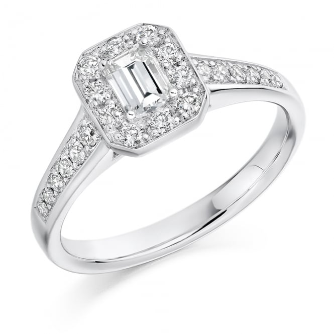 Lance James Engagement Platinum Emerald Cut Diamond Halo Engagement Ring