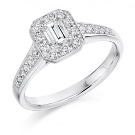 Platinum Emerald Cut Diamond Halo Engagement Ring