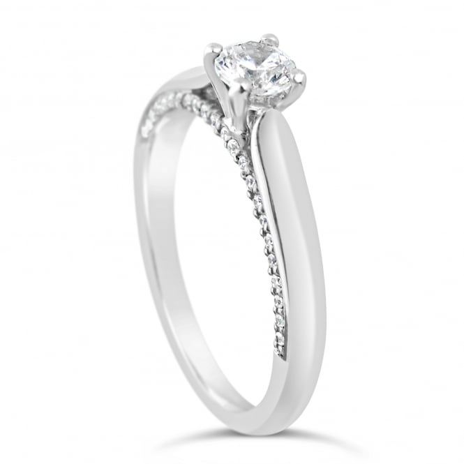 Lance James Engagement Sterling Silver 0.54ct Cubic Zirconia Marry Me Ring - London