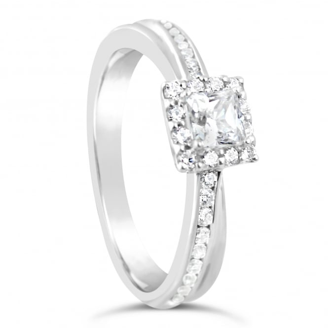 Lance James Engagement Sterling Silver 0.75ct Cubic Zirconia Marry Me Ring - Florence