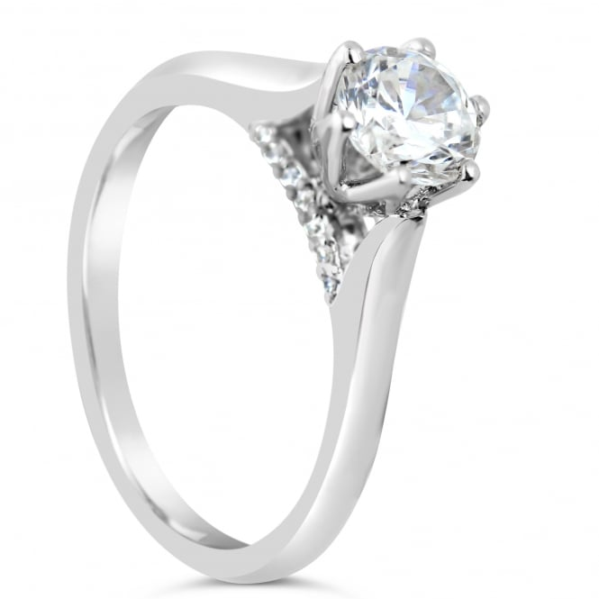 Lance James Engagement Sterling Silver 0.81ct Cubic Zirconia Marry Me Ring - Venice