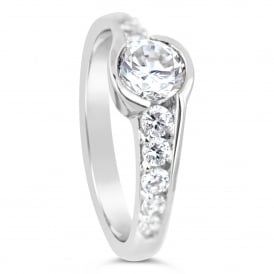 Sterling Silver 1.26ct Cubic Zirconia Marry Me Ring - Prague