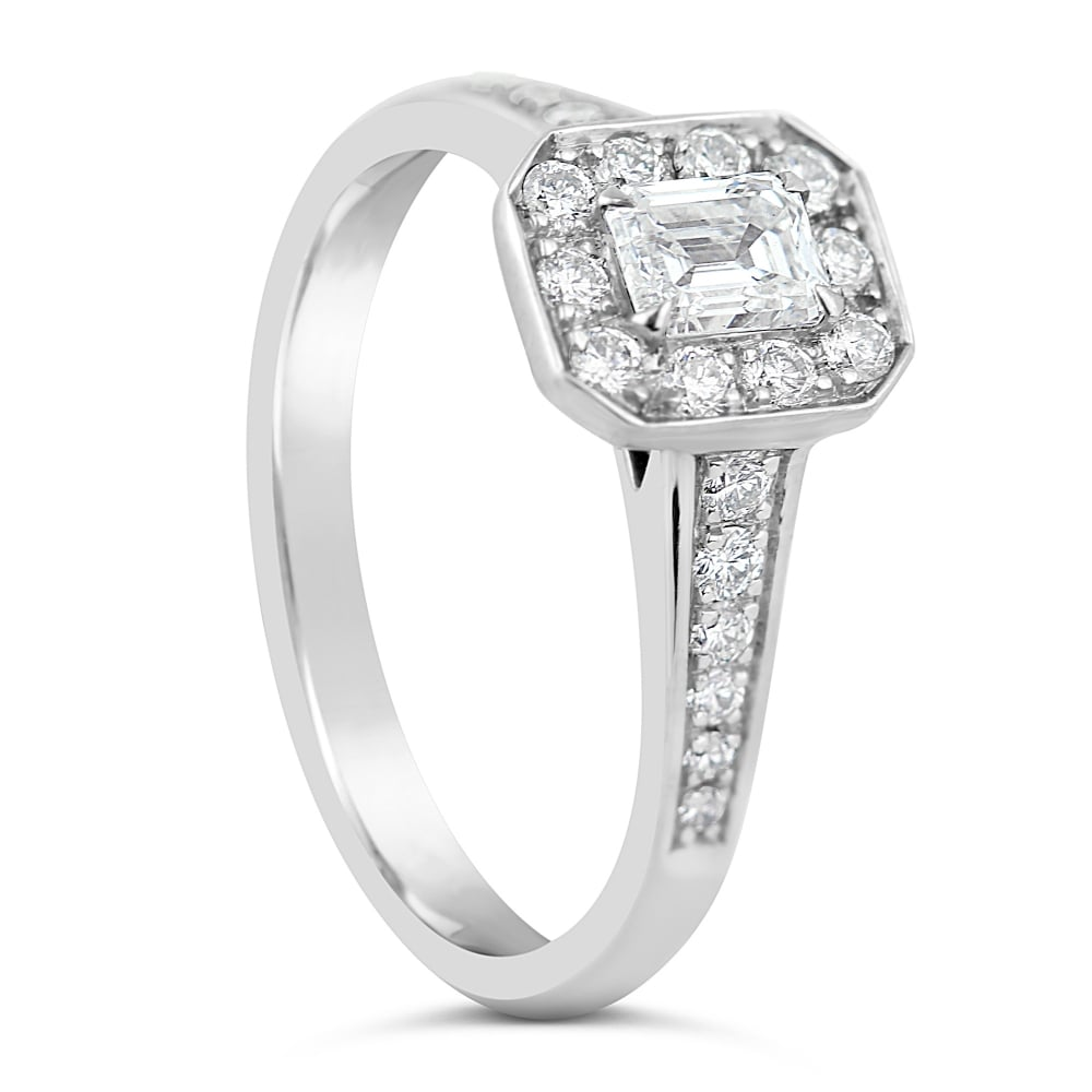 womens platinum emerald cut diamond ring
