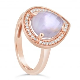 18ct Rose Gold Diamond & Faceted Amethyst Ring