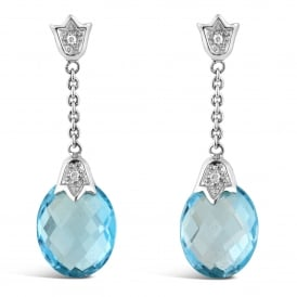 18ct White Gold Blue Topaz Droplet Earrings