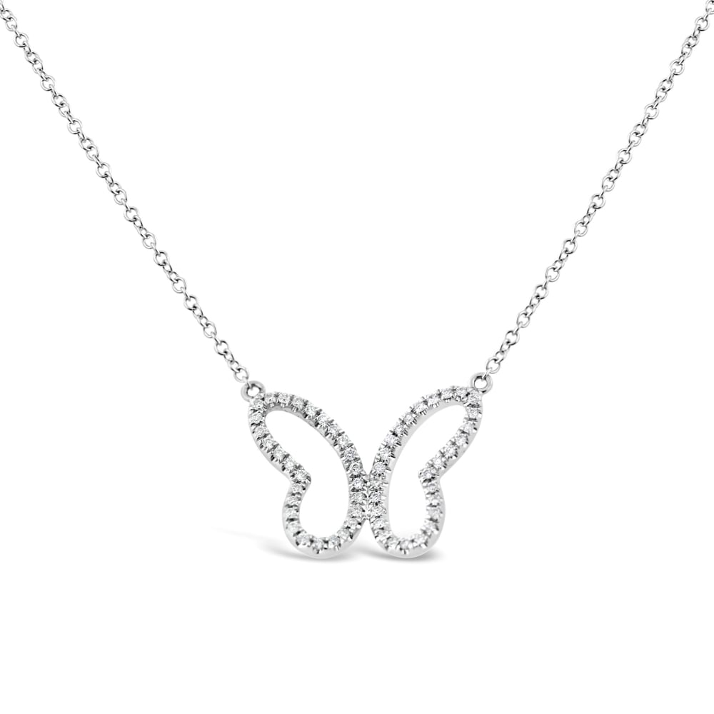 18ct White Gold Diamond Butterfly Necklace