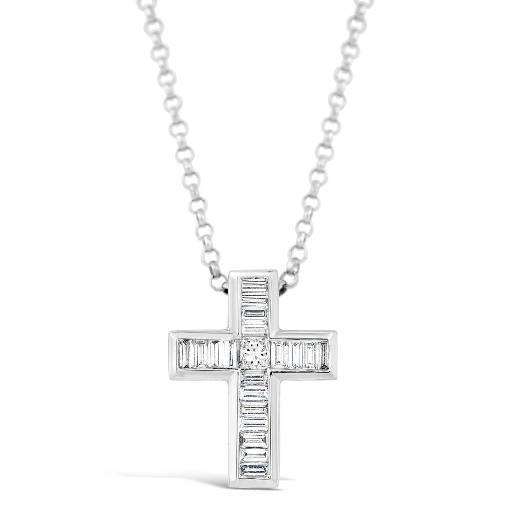 3a2fc3b01b22 18ct White Gold Diamond Cross Pendant