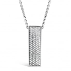 18ct White Gold & Diamond Curved Pendant