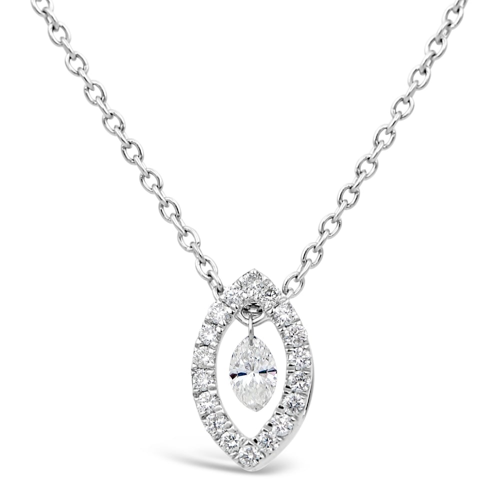 necklace gold solitaire pendant setting white shape bale single marquise in diamond