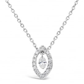 18ct White Gold & Diamond Marquise Necklace